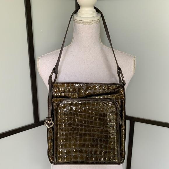 Brighton Handbags - Brighton Olive Green Croc Embossed Shoulder Bag